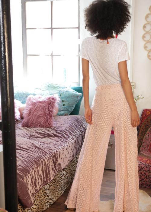 Seventies Hose Lace rosa