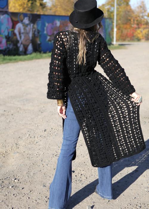 Boho Long Pullover Crochet Panels schwarz