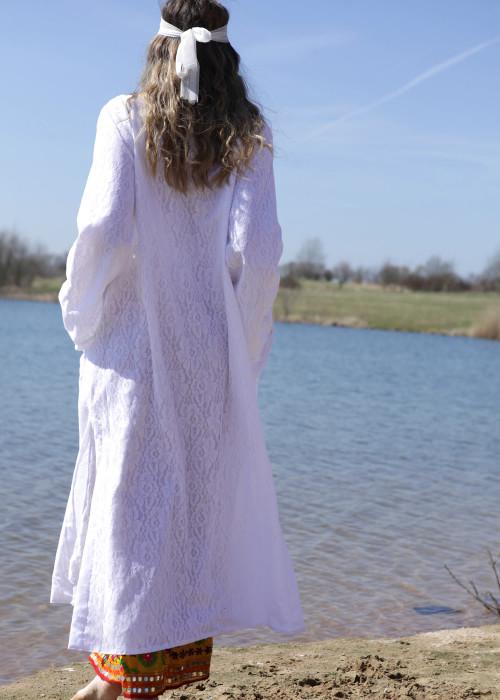 Boho Kimono Mantel Lace weiss