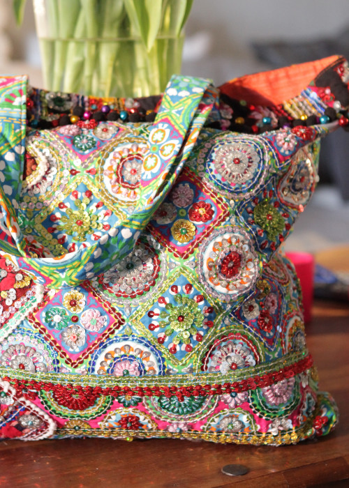 Boho Tasche Beach Shopper tuerkis-multicolor
