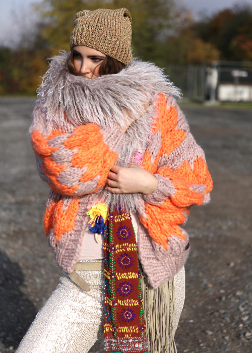 Boho Stola Lammfell Scarf Sari Tuch Queen No6