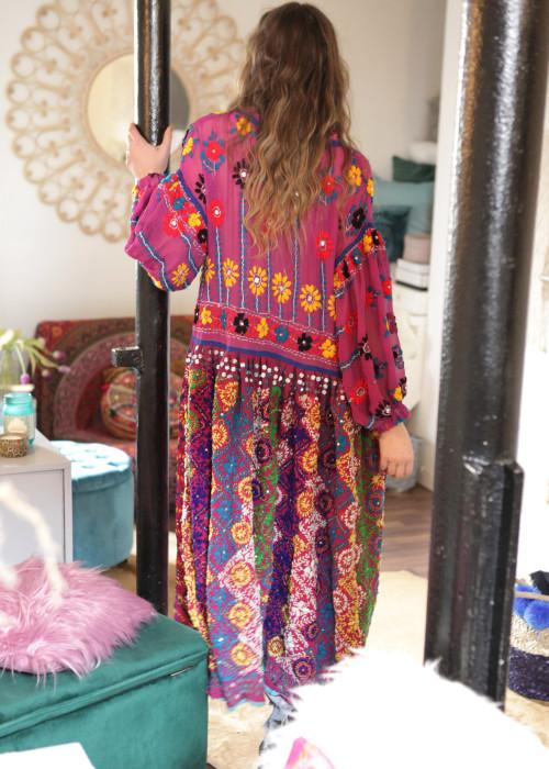 Boho Mantelkleid Babydoll Embroidery Violett