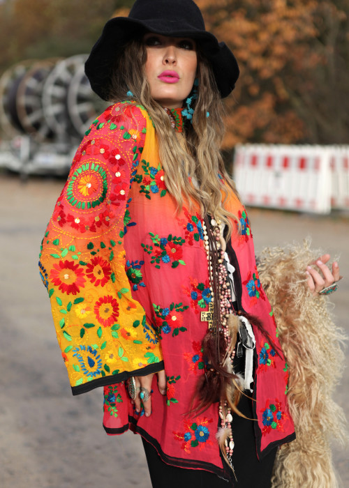 Boho Hemd-Jacke Embroidery sunset