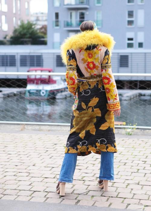 Boho Mantel Amisha Vintage Kapuze gelb