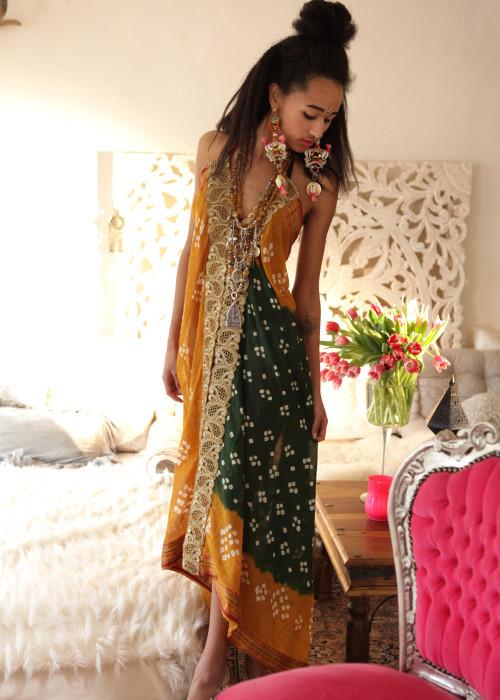 Boho Neckholderkleid Tanee Batik Nr.8 braun-gruen