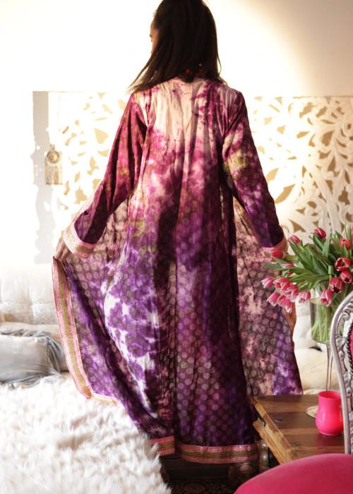 Boho Kimono Karma Batik Nr.8 lila-rosa