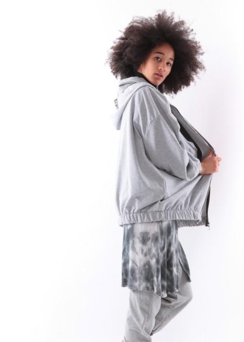 Kapuzen Oversize Sweater Jacke grau