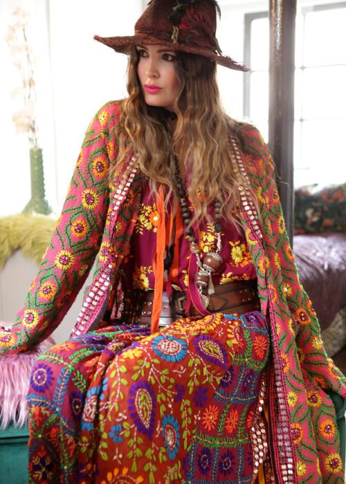 Boho Kimono Mantel Madhu Embroidery berry