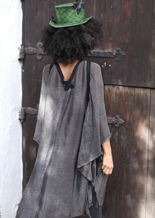 Oversize Tunika Seide-Leinen grau-schwarz