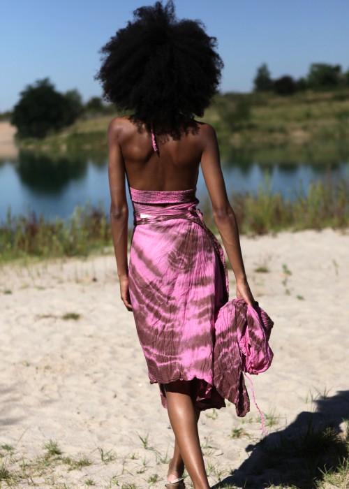 Bohemian Wickelkleid Batik pink-braun