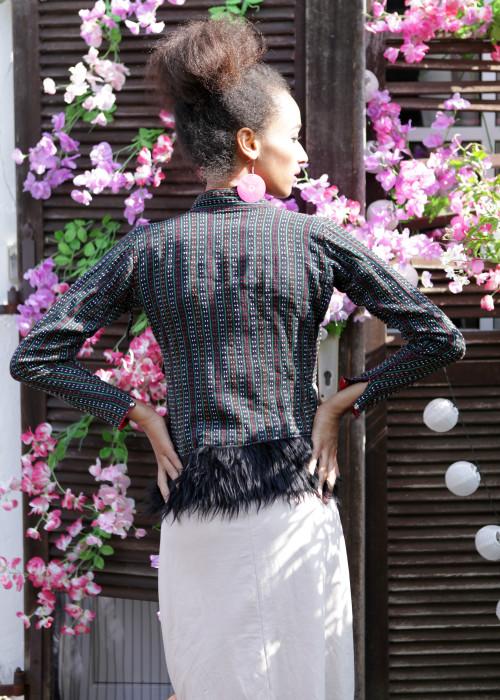 Boho Jacke mit Kunstfell multicolor-schwarz