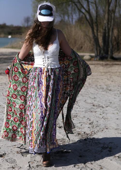 Boho Maxirock Gypsy Embroidery weiss gelb