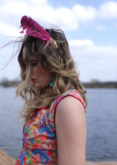 Gypsy Haarreif Feder pink