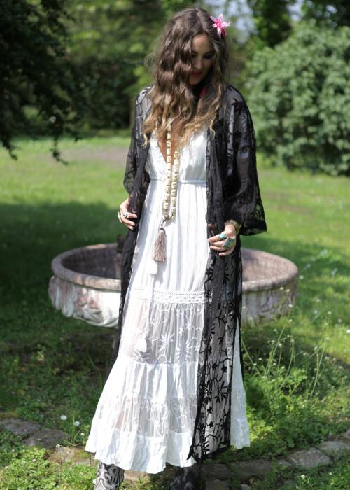 Boho Kimono Fragipani schwarz