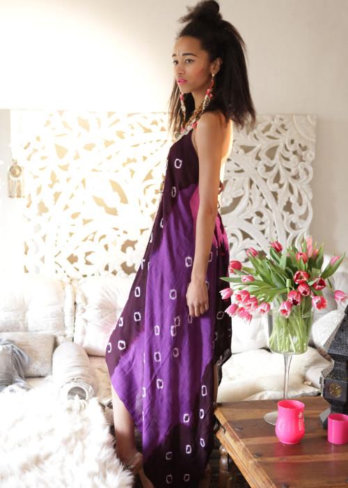 Boho Neckholderkleid Tanee Batik Nr.4 lila-braun