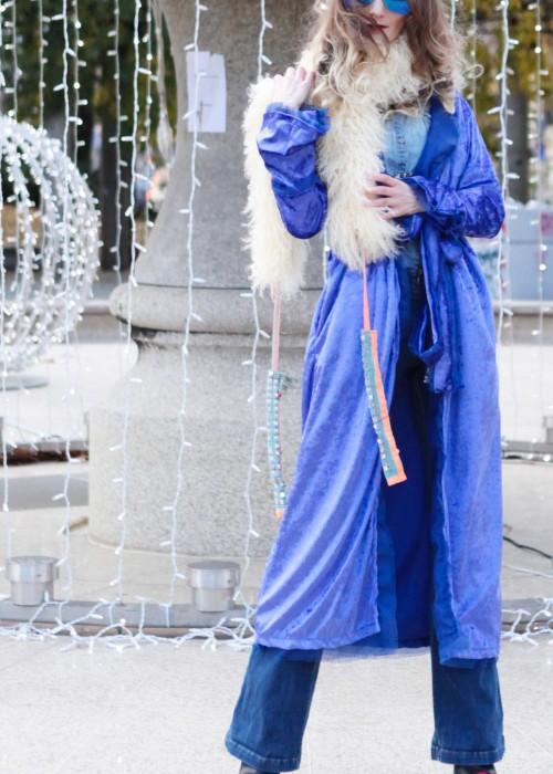 Boho Mantel Amisha Samt blau lila