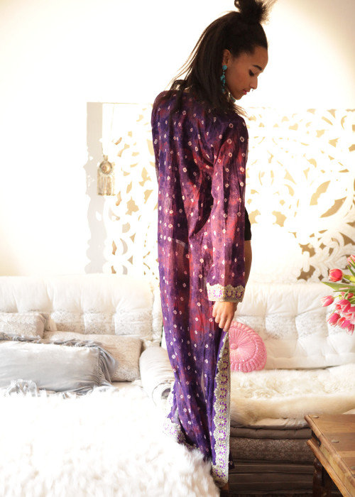 Boho Kimono Karma Batik Nr.3 lila-gold