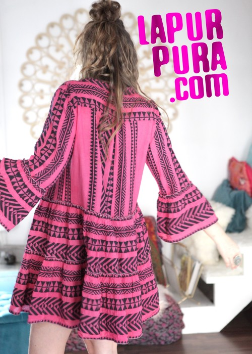 Boho Tunika Kleid Kefiyeh jeans-neon pink
