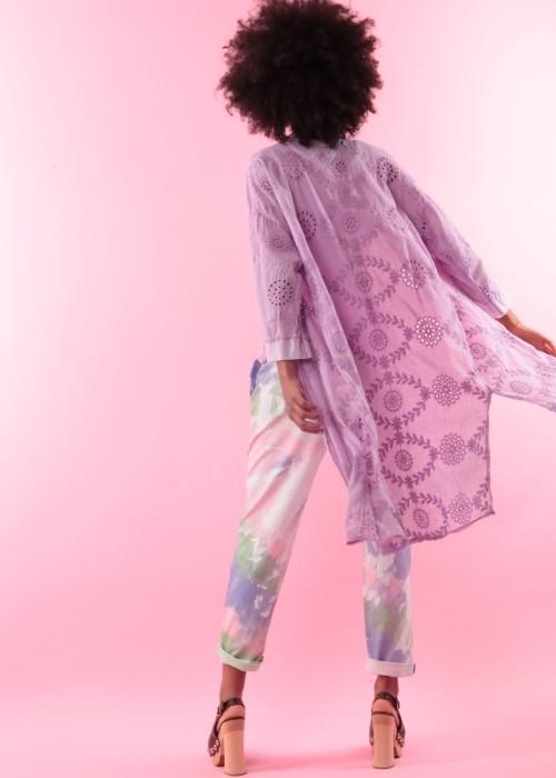 Boho Kimono Mantel Cotton Lace flieder