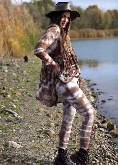 Boho Leggings Handbatik Ghost-Sepia