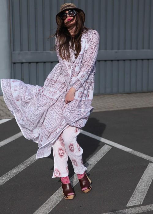 Bohemian Couture Maxi Mantel Gebetstuch weiss