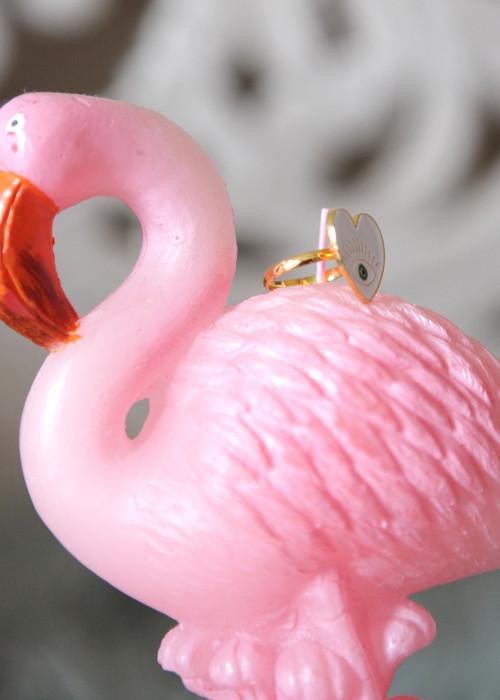 Boho Ring Heart Eye weiss