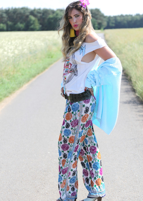 Boho Pants Embroidery weiss