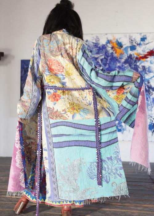 Boho Kimono Mantel Madhu Vintage blau