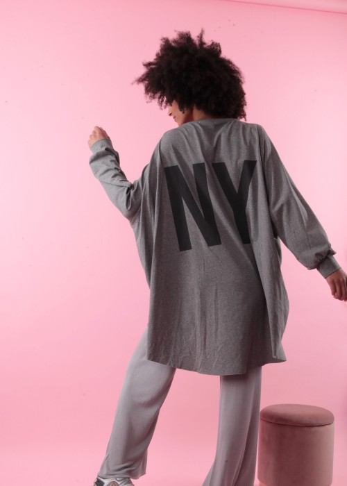 Boho Oversize Tunika Shirt grau