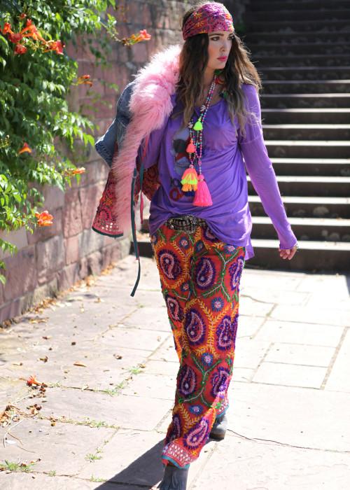 Boho Pants Embroidery orange