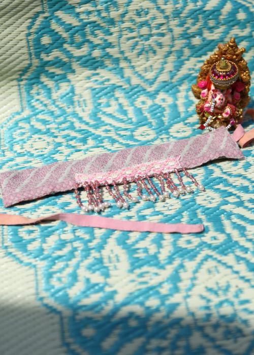 Boho Choker Pailletten Pearls rosa