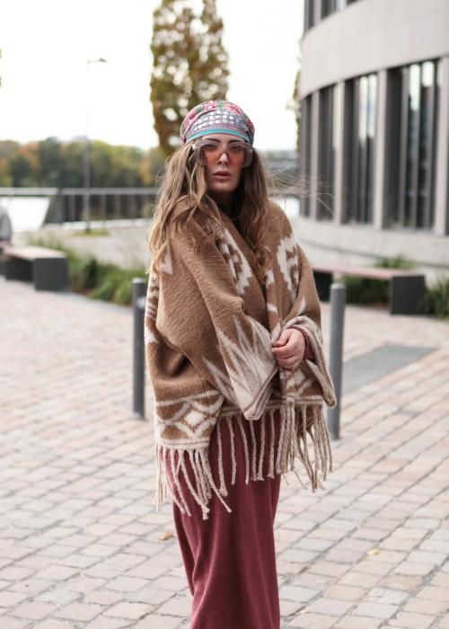 Boho Poncho Cardigan Sioux nugat