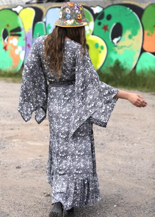 Boho Kimono Kleid Flower black