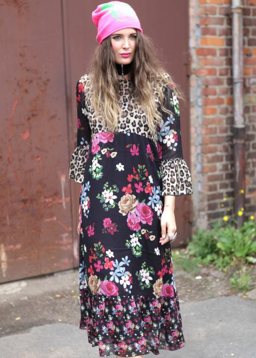 Kleid Flowers Leo schwarz
