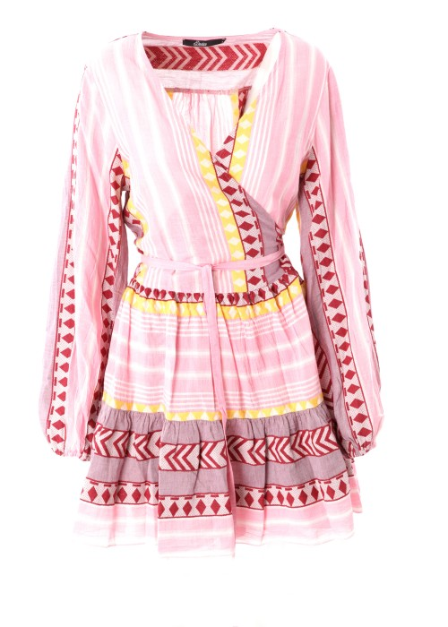 Boho Wickelkleid Short Keffiyeh rosa-gelb