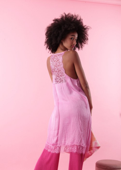 Lace long Top pink