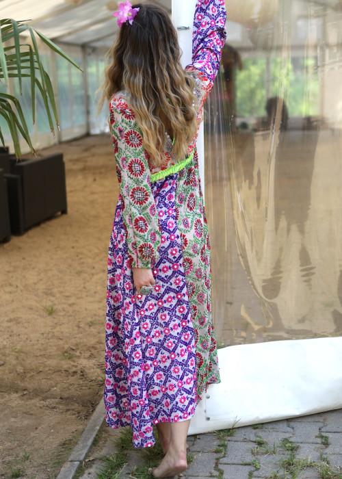 Boho Kleid Empire Embroidery lila-beige
