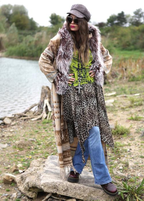Boho Mantel mit Kapuze und Tibetlamm Aztek beige-braun