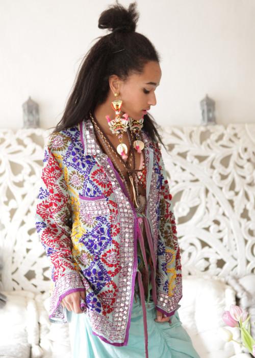 Boho Hemd-Jacke Embroidery hellblau