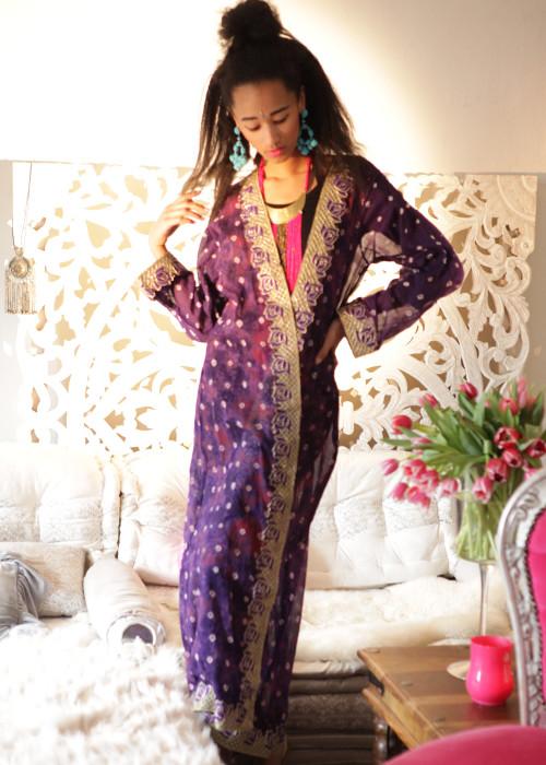 Boho Kimono Karma Batik Nr.10 lila-gold