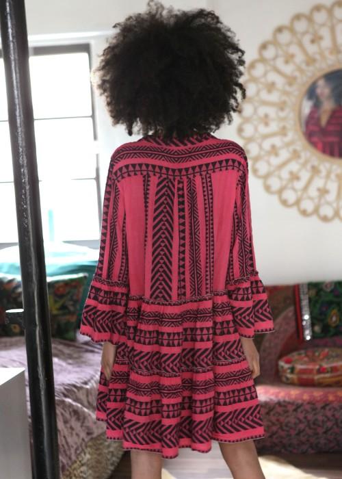 Boho Tunika Kleid Keffiyeh jeans-neon pink
