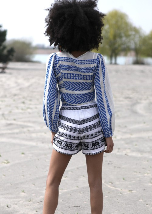 Boho Shorts Keffiyeh schwarz-creme