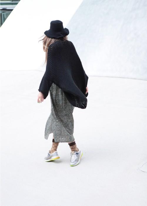 Boho Kimono Strickjacke schwarz