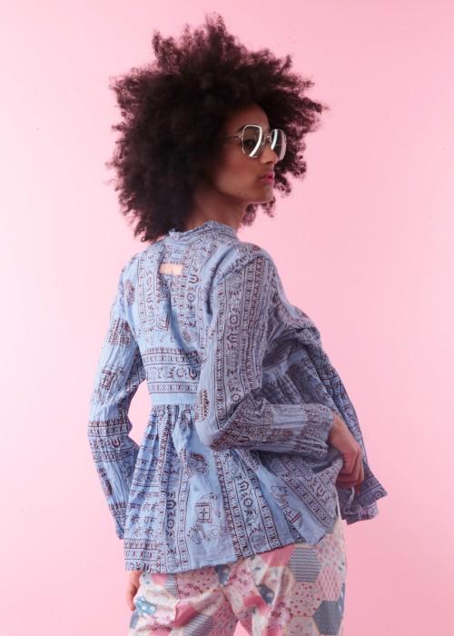 Bohemian Couture Jacke Gebetstuch Ultra Short blau
