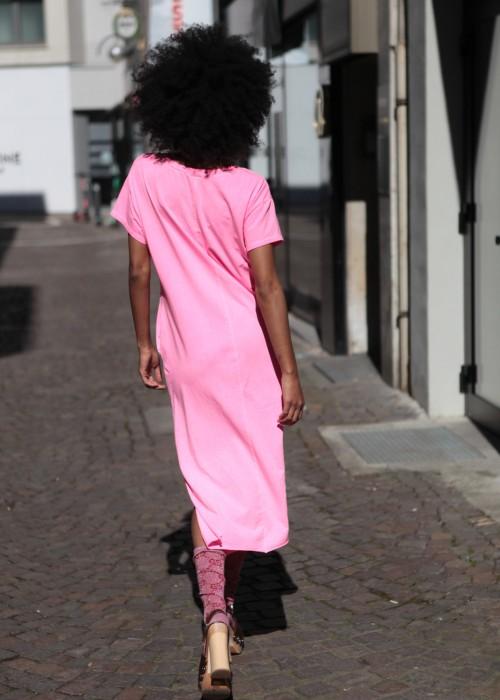 Boho Long Shirt Kleid Eye pink