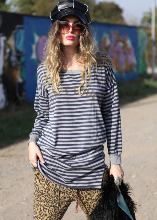 Sweatshirt Long Stripes blau-grau