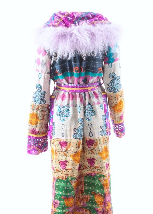 Boho Mantel Amisha Vintage Kapuze flieder