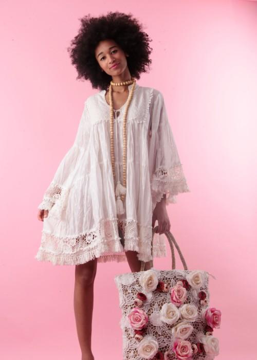 Boho Empire Tunika Kleid Lace weiss