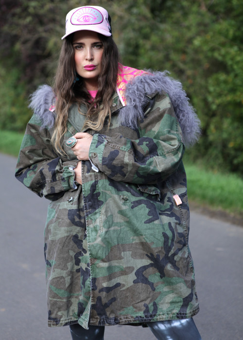 Boho Parka Handbrushed Tibeth and Pink