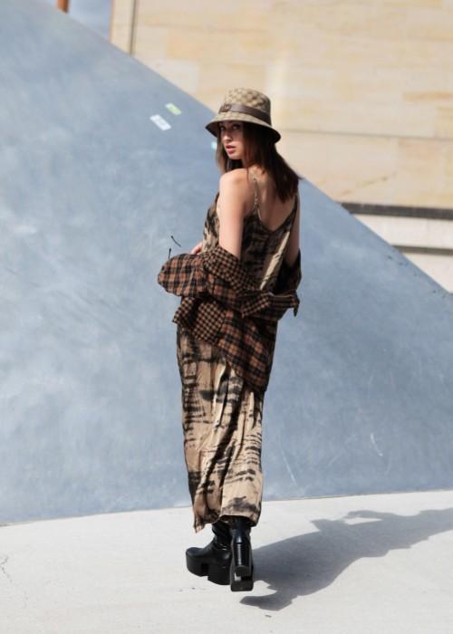 Boho Slip Dress Batik braun